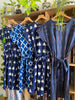 Ikat Kimono Sleeve Dress -  Blue Triangles