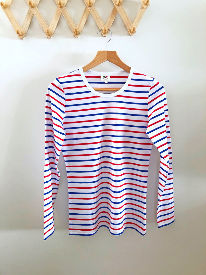 Long Sleeve Tee - Red White Blue