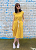 Jersey Drawstring Dress - Mustard Yellow