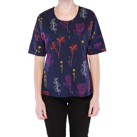 Radiance Button Through Top - Floral Sketch