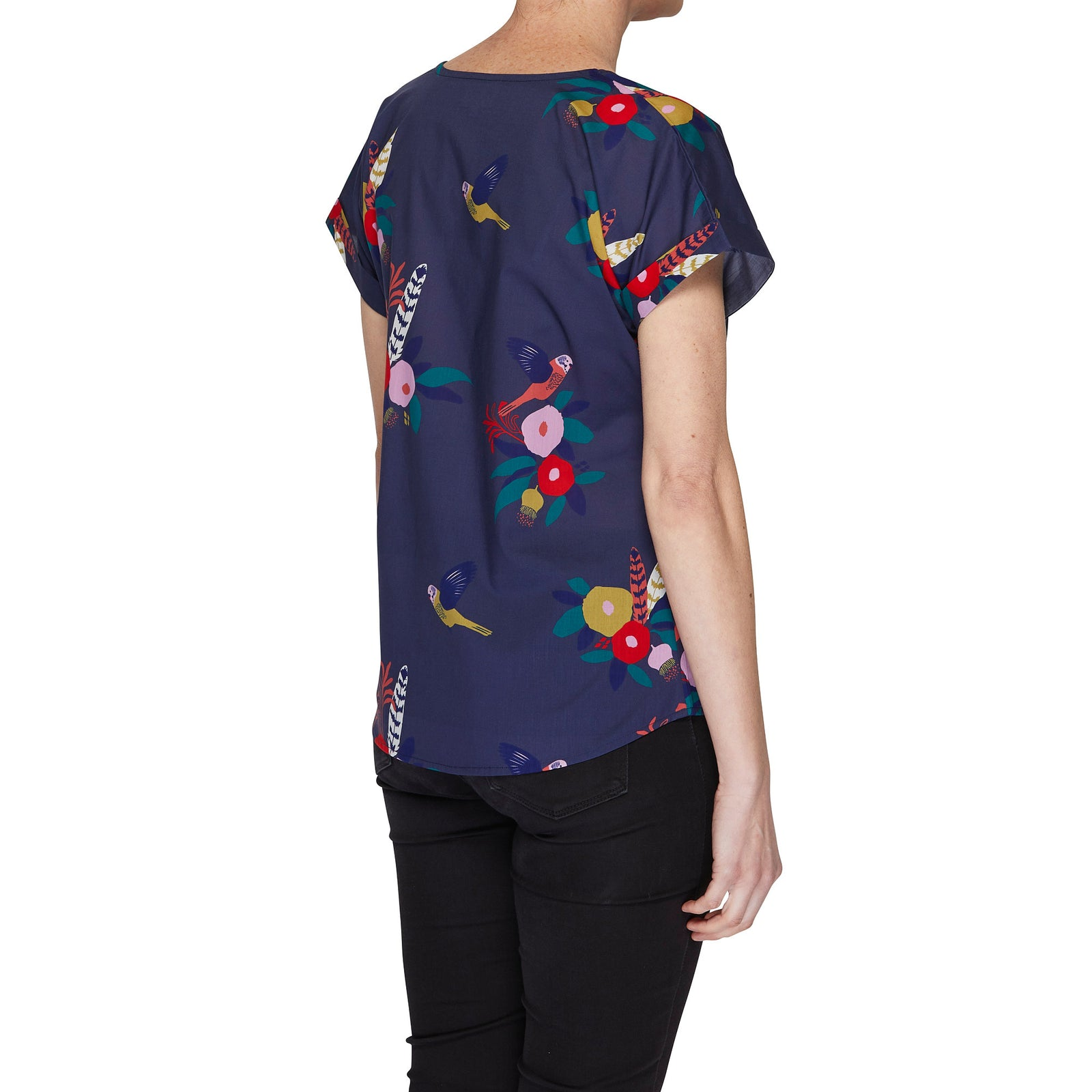 Box Tee Blouse - Budgie Bouquet