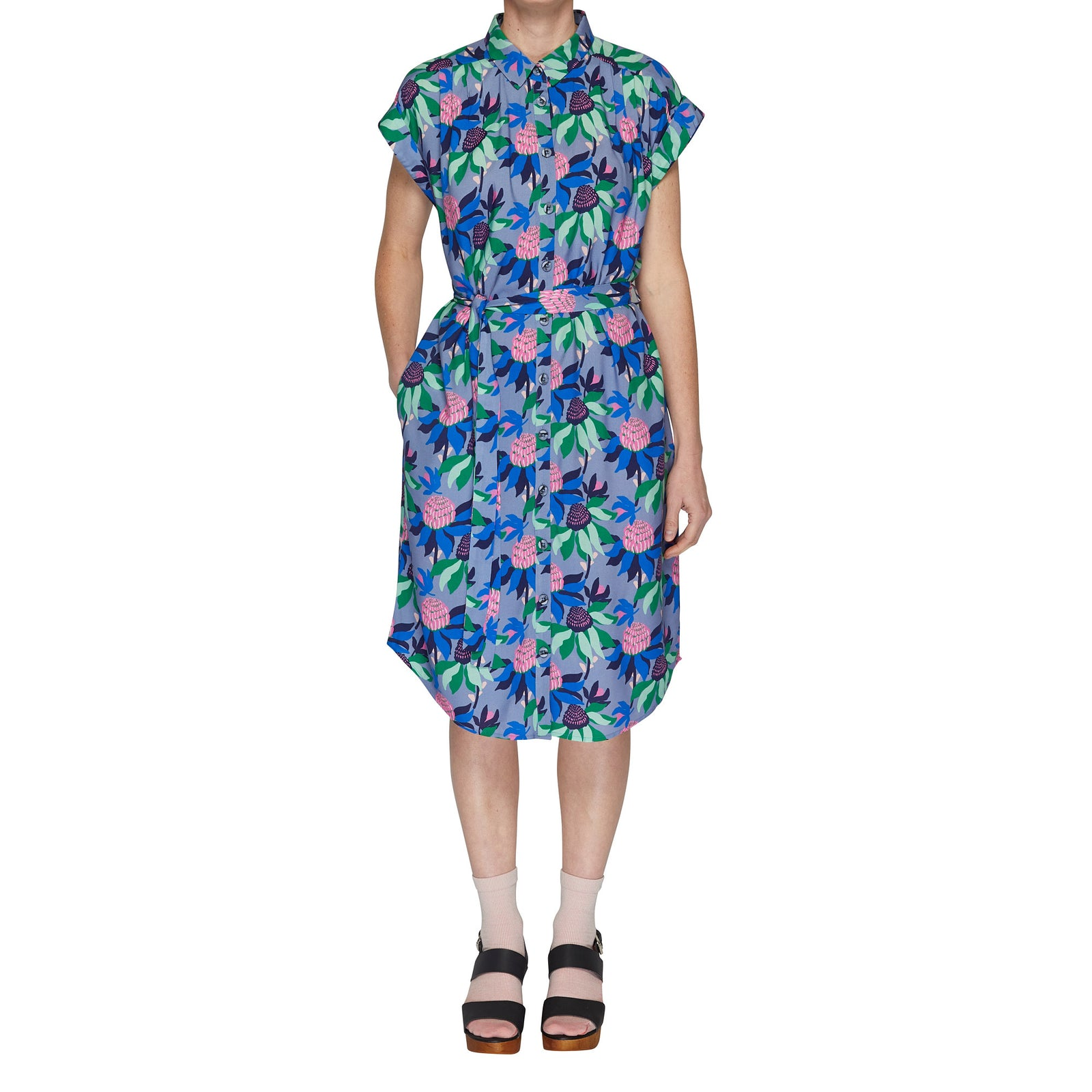 Button through dress - Summer Waratah