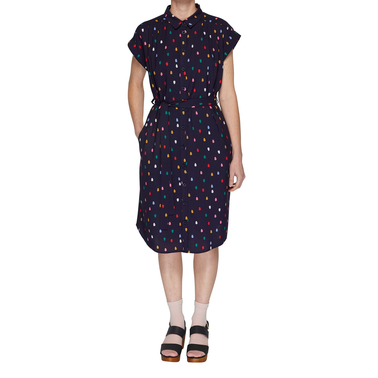 Button through dress - Spots
