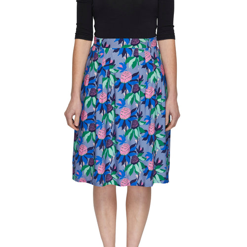 Pleat Skirt - Summer Waratah