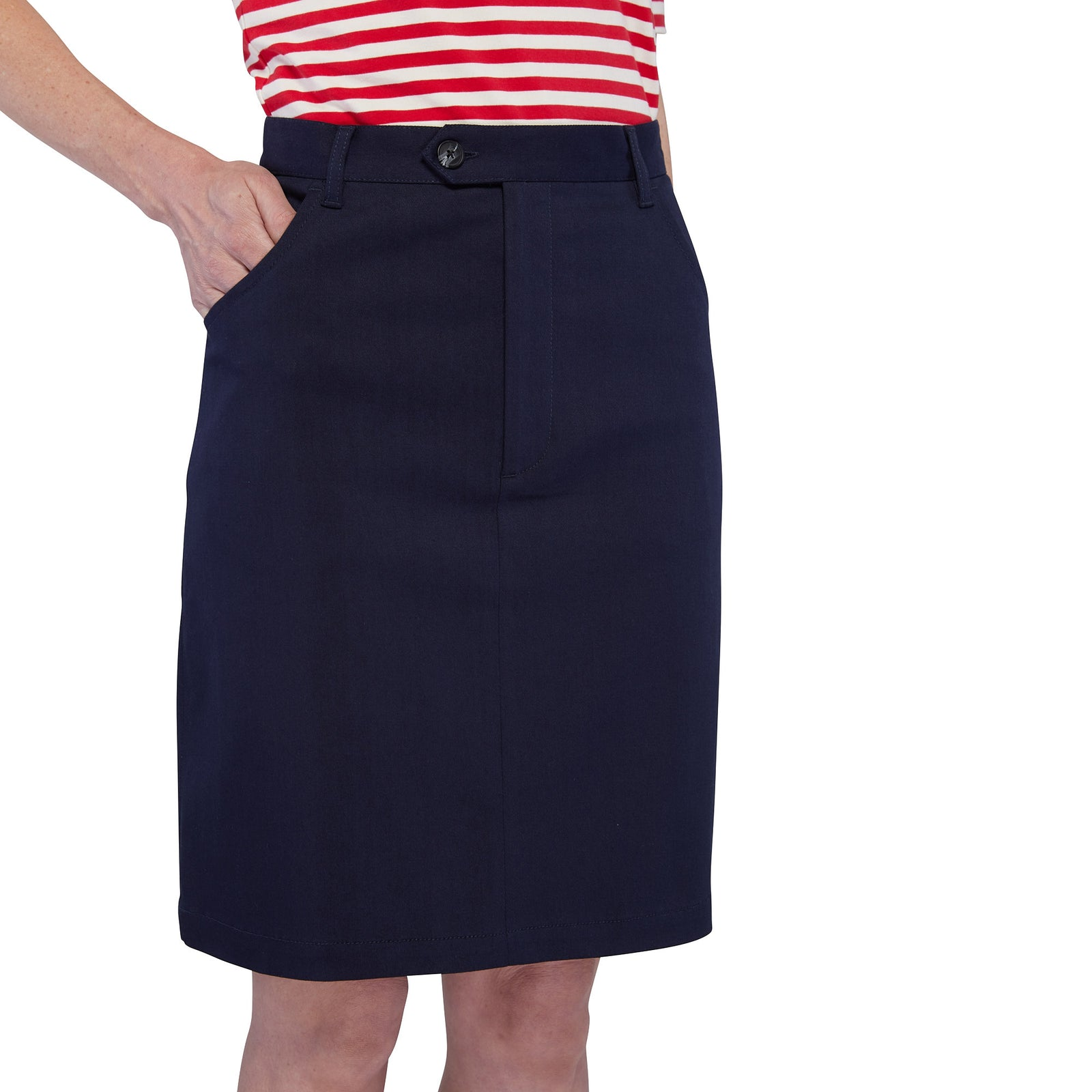 Zip Front Mini Skirt - Navy