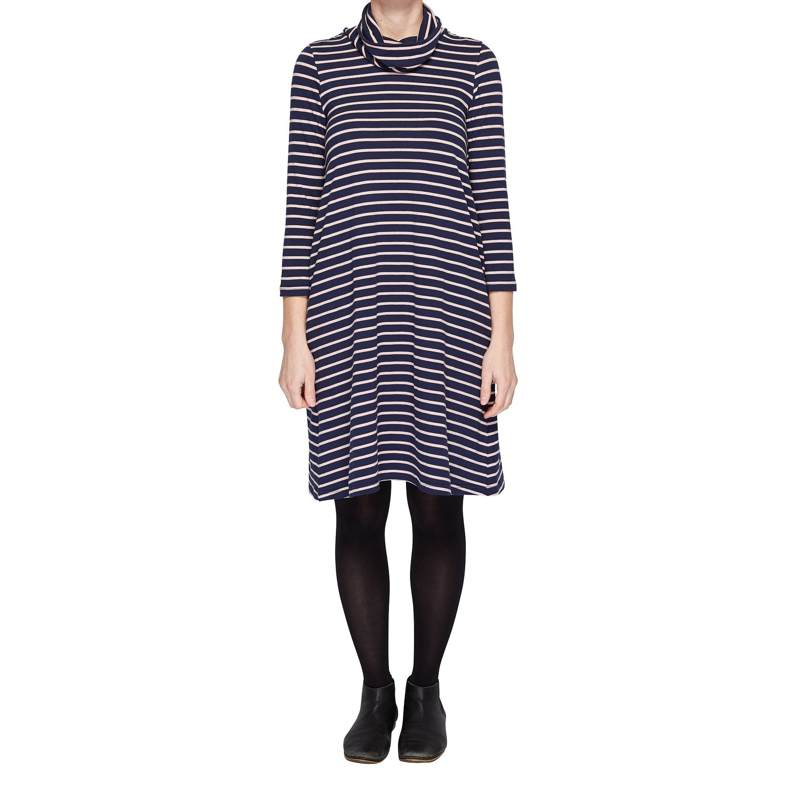 Winter Jersey Dress - Navy/Pink
