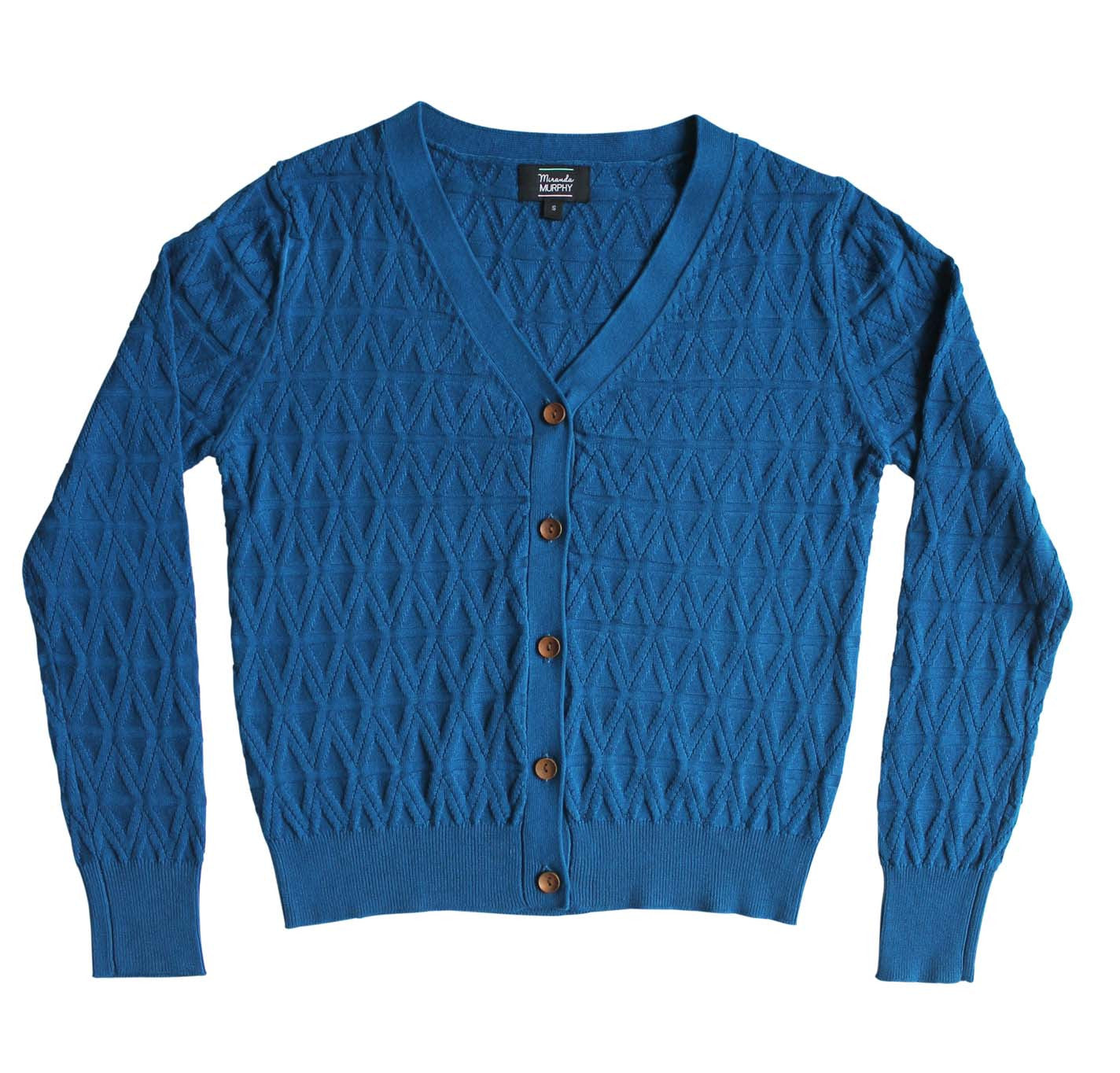 Geo Knit Cardigan - Ocean Blue
