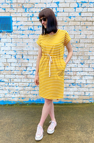 Summer Tee Dress - Mustard Yellow
