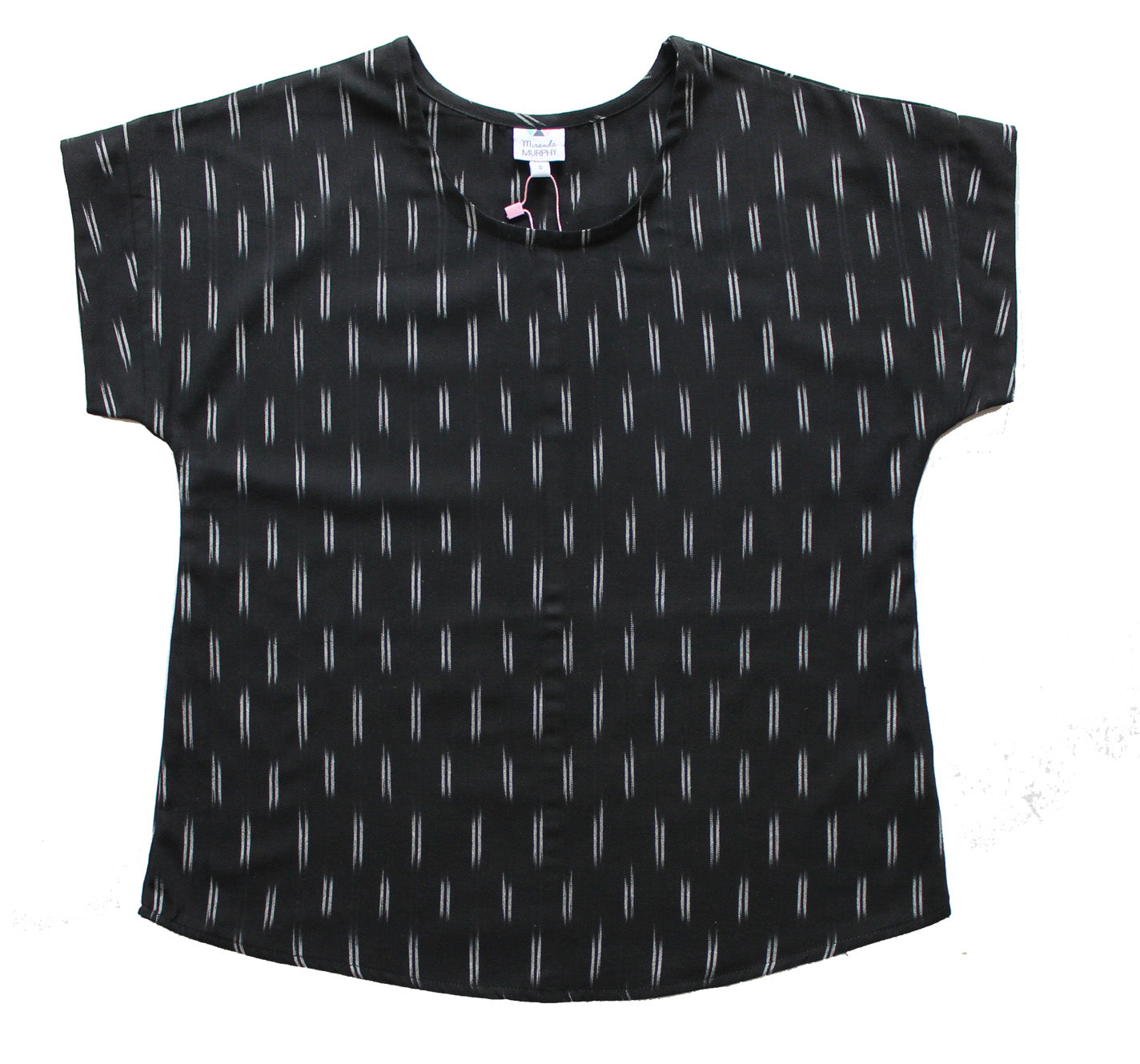 Ikat Boxy Top - Black double line