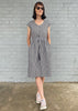 V Neck dress - Black Chambray + Gold Spots