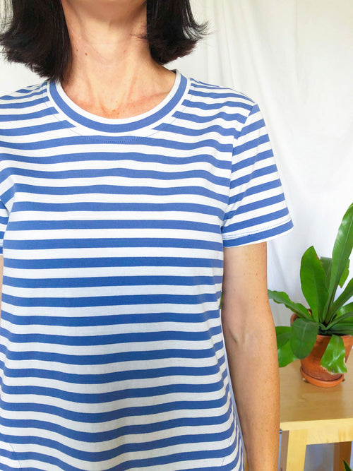 Tee Dress - Cornflower Blue and White (light weight)