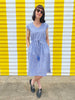 V Neck dress - Blue Chambray + Gold Spots