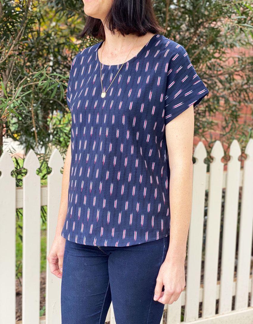 Ikat Boxy Top - Navy/Red Lines