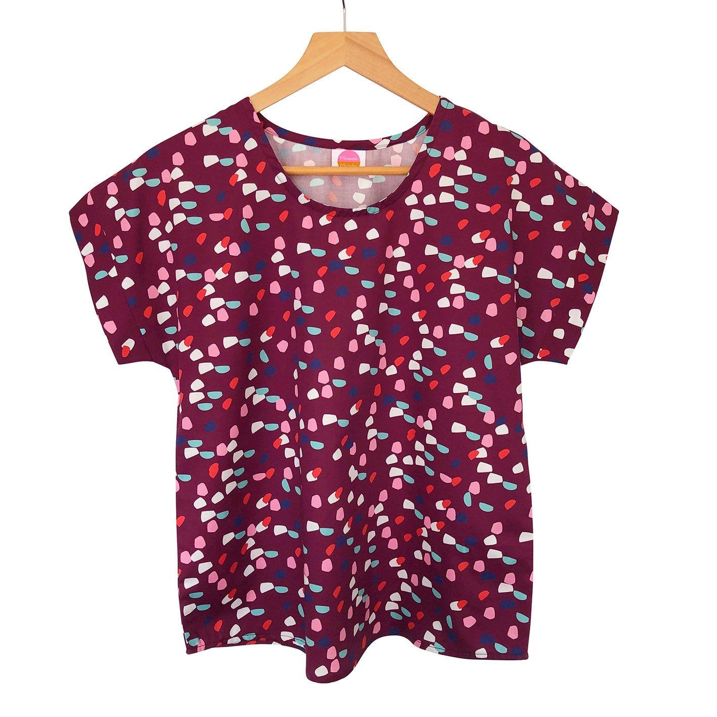 Boxy Top - Pixels Burgundy (Made to order)