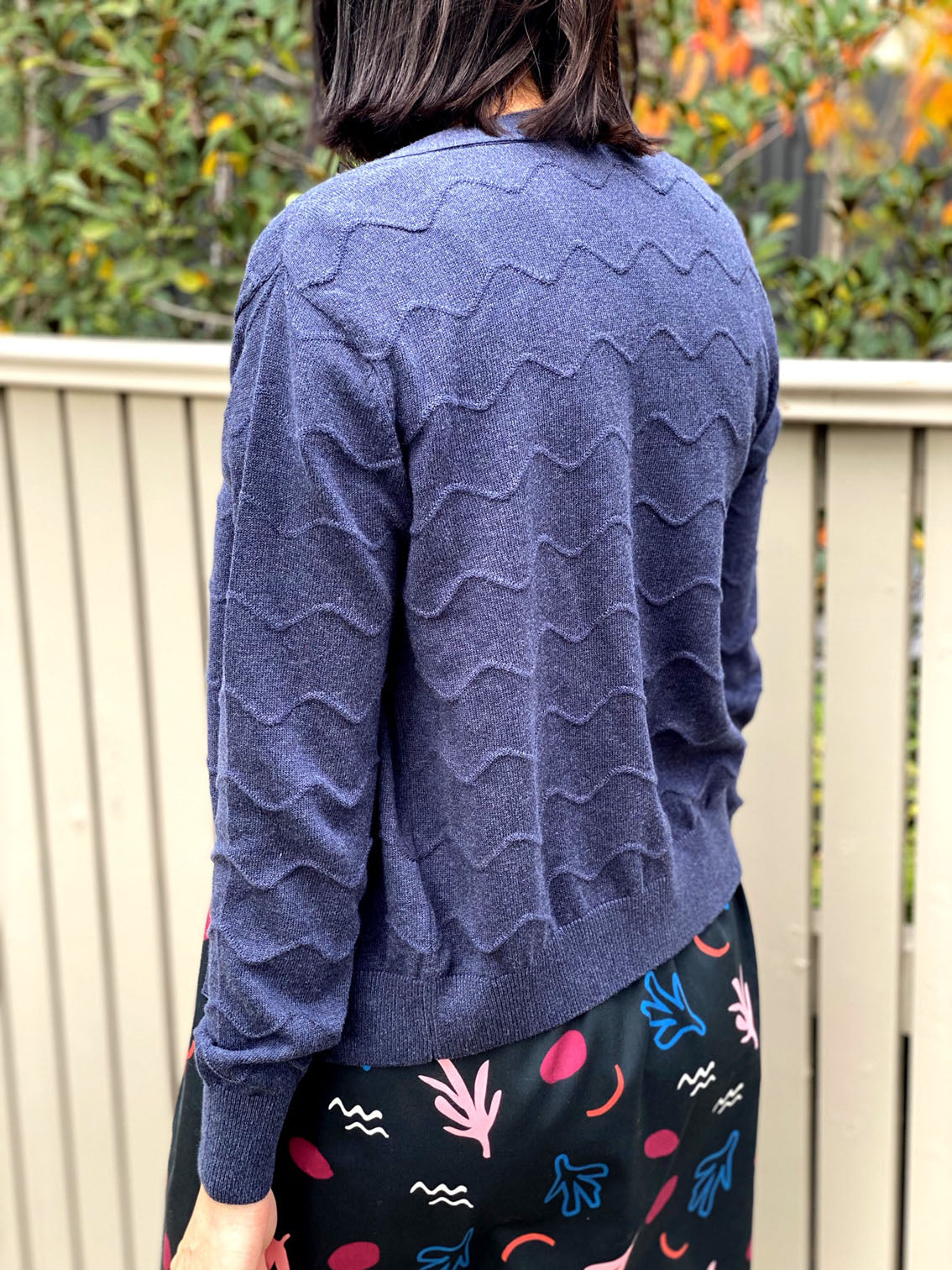 Squiggle Cardigan - Denim Blue