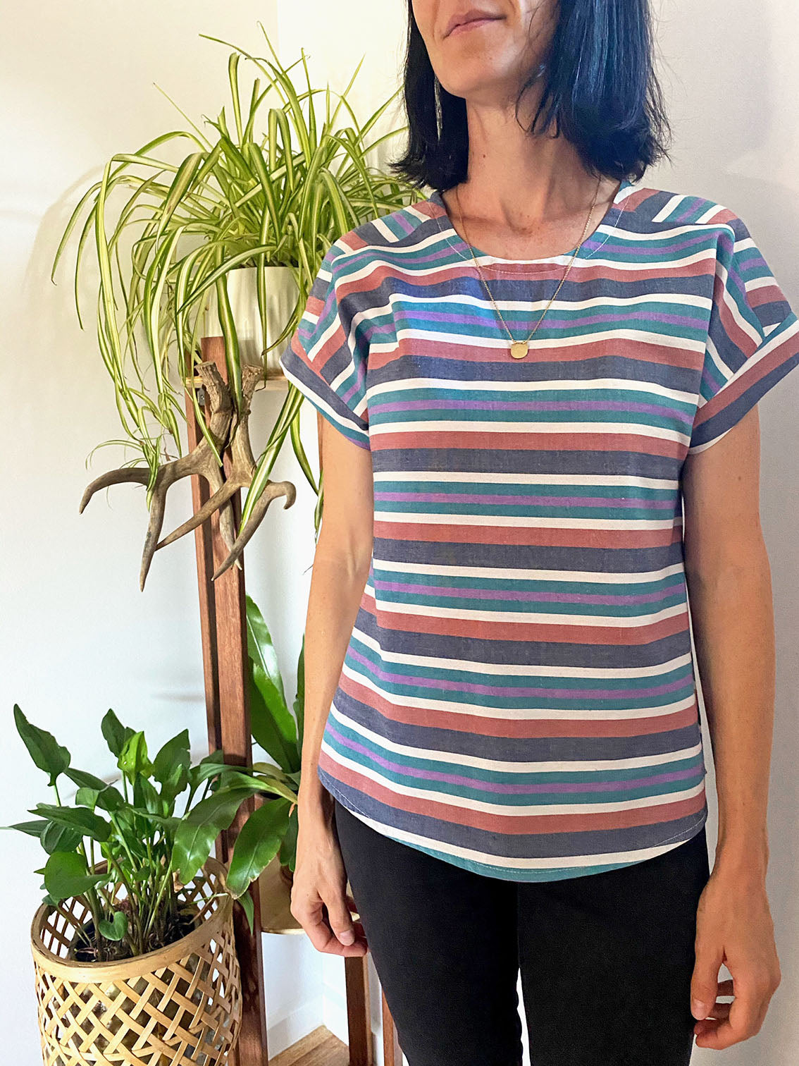 Boxy Top - Earth Stripe (Made to order)