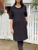Elbow Jersey Dress - Black/White