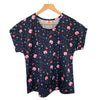 Boxy Top - Floral Explosion Navy (Made to order)