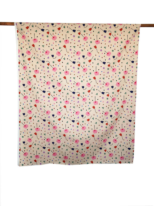 Floral Explosion (Cream) - Cotton Sateen fabric by the half metre