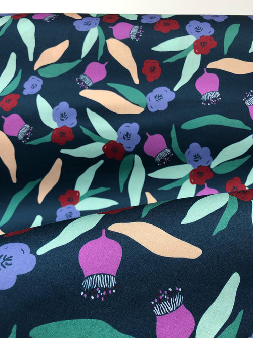 Native Floral - Cotton Sateen fabric by the half metre