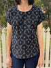 Ikat Boxy Top - Black Floral