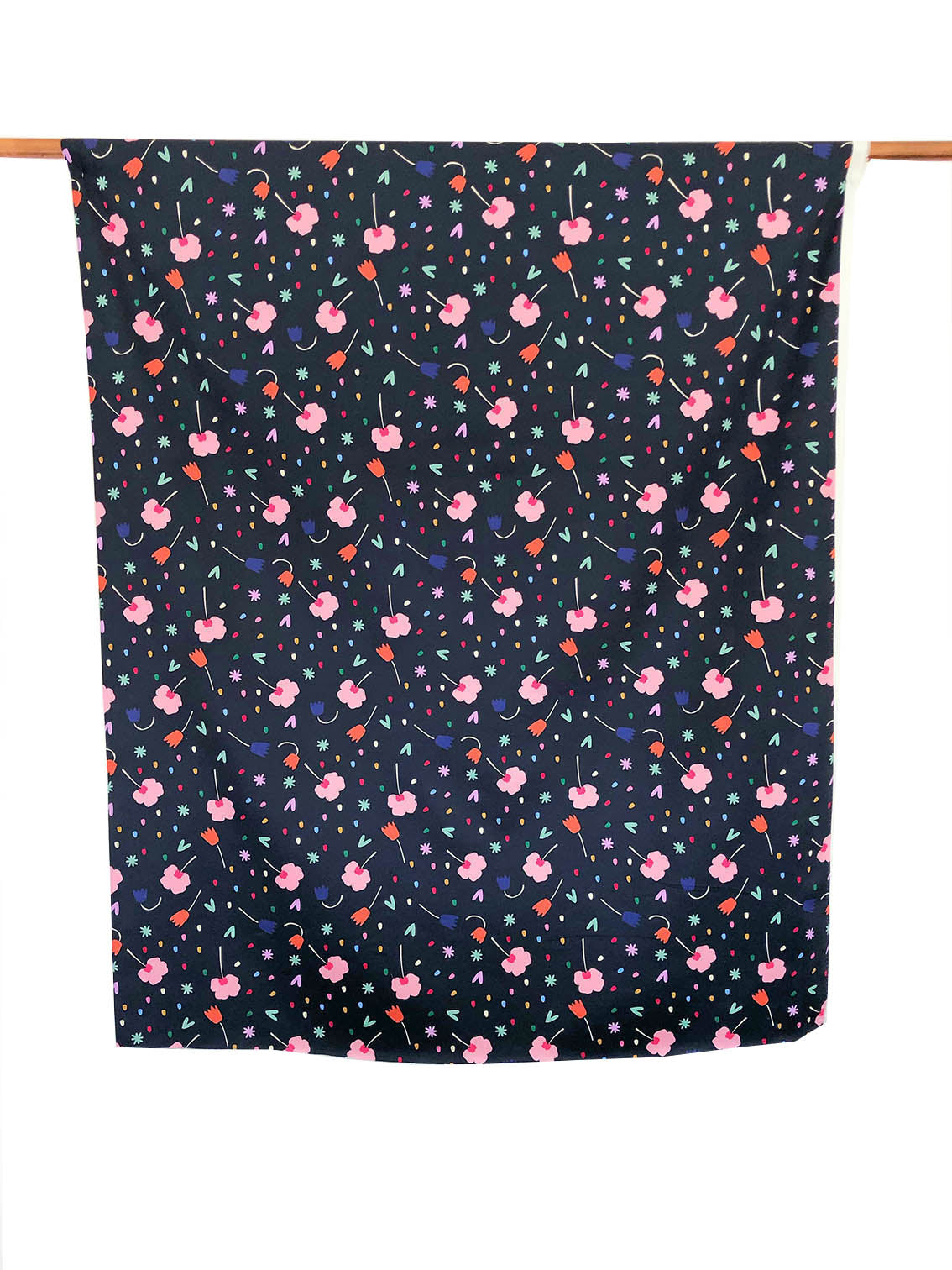 Floral Explosion (Navy) - Cotton Sateen fabric by the half metre
