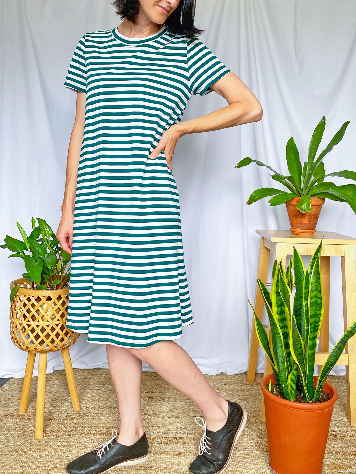 Tee Dress - Forest Green and White (light weight)