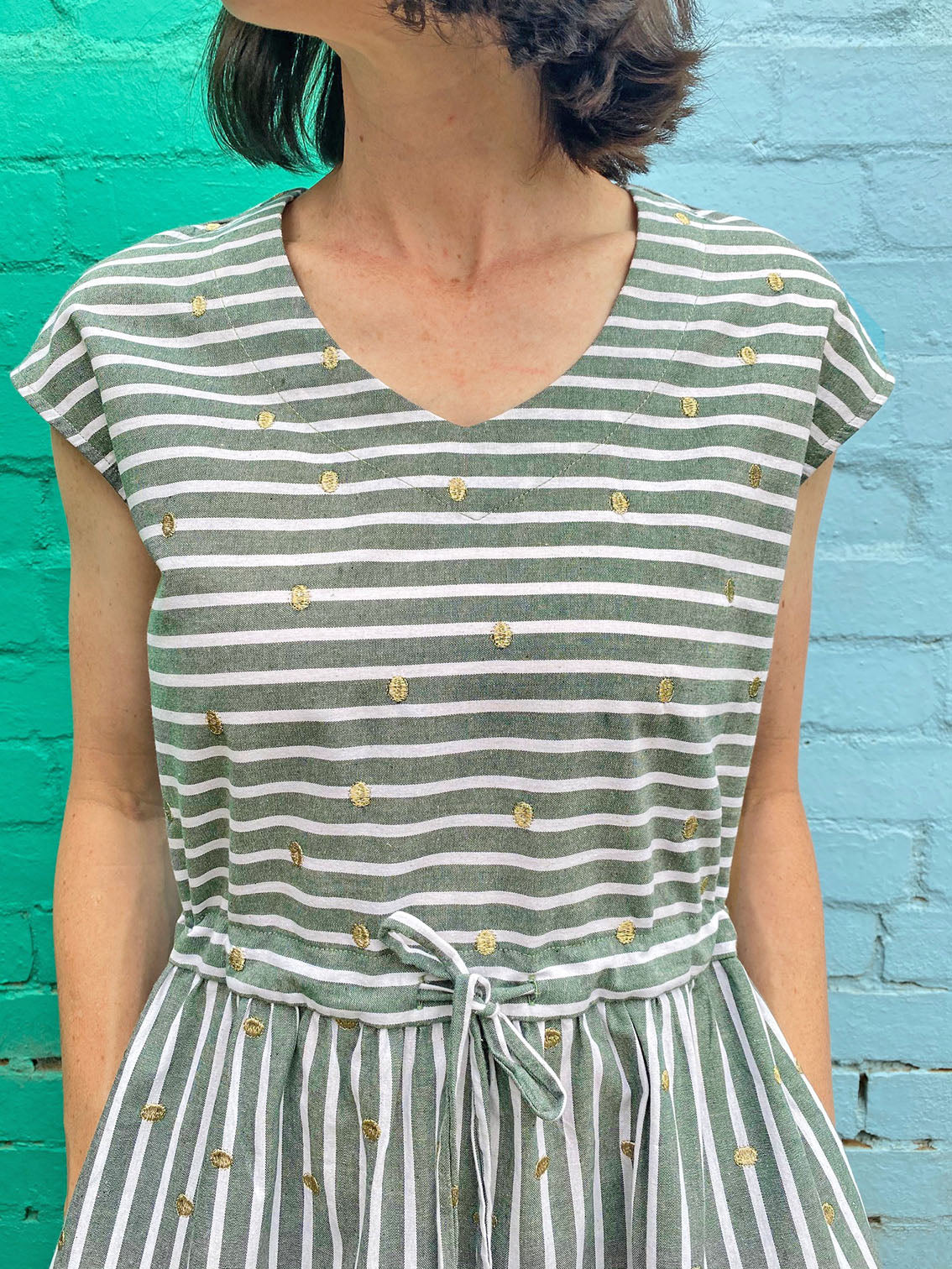 V Neck dress - Green Chambray + Gold Spots