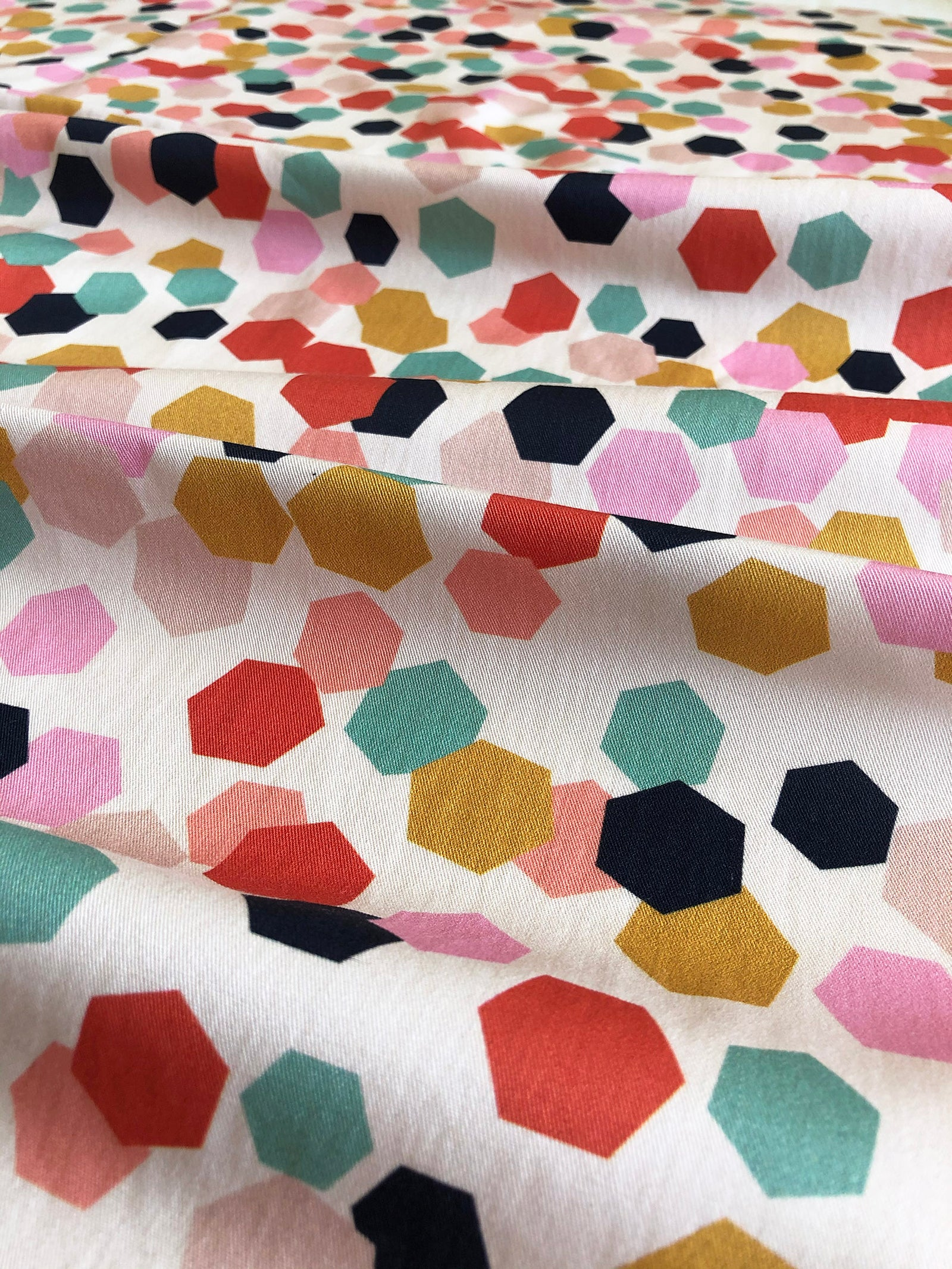 Hexagon Confetti - Cotton Twill fabric by the half metre