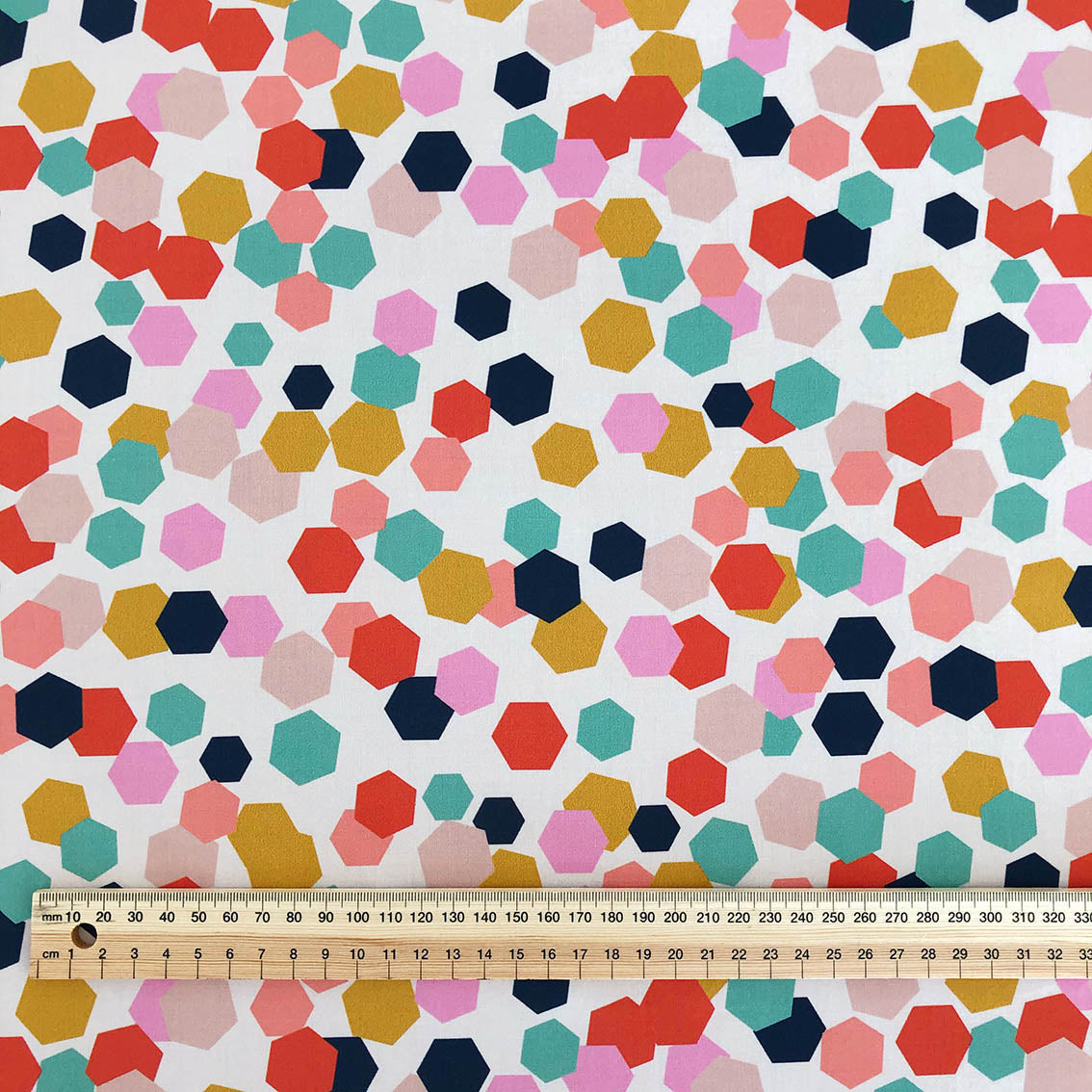 Hexagon Confetti - Cotton Sateen fabric by the half metre