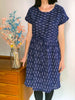 Ikat Drawstring Kimono Sleeve Dress -  Navy Line Formation