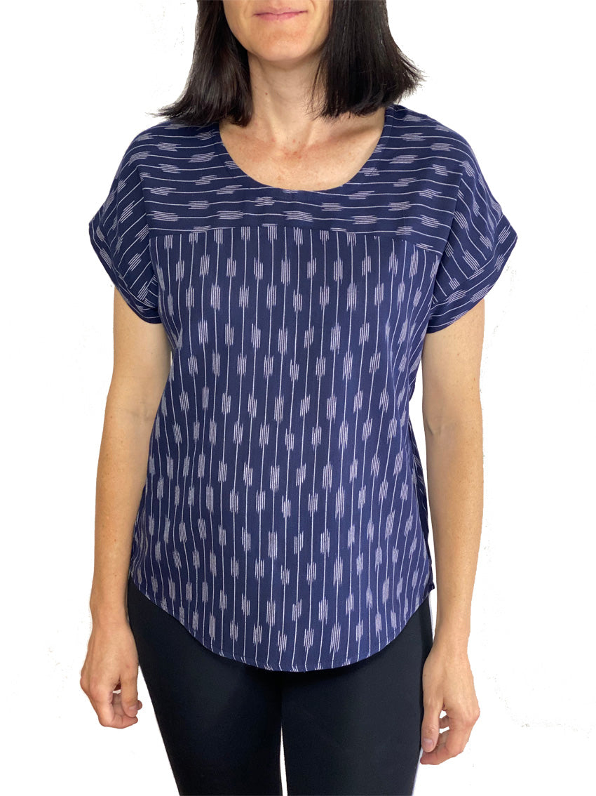 Ikat Boxy Top - Navy Line Formation