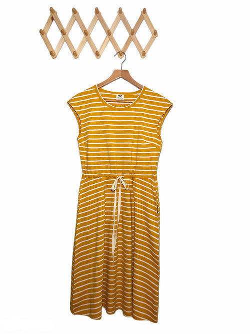 Jersey Drawstring Dress - Mustard Yellow (mid weight)