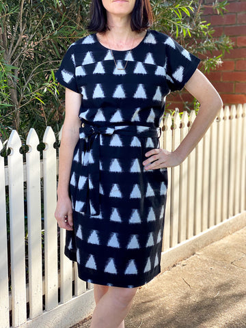 Ikat Kimono Sleeve Dress -  Black Triangles