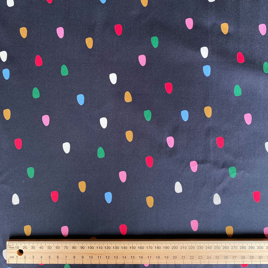 Navy Spots - Cotton Twill fabric  by the half metre
