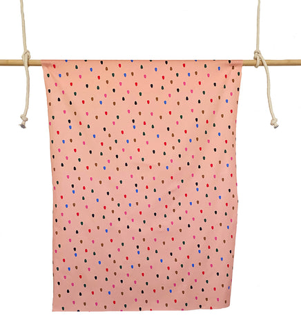 Peach Spots - Cotton Twill fabric by the half metre