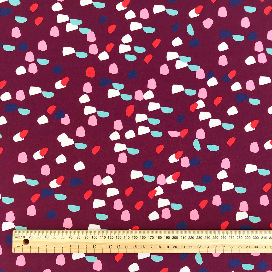 Pixels (Burgundy) - Cotton Sateen fabric by the half metre