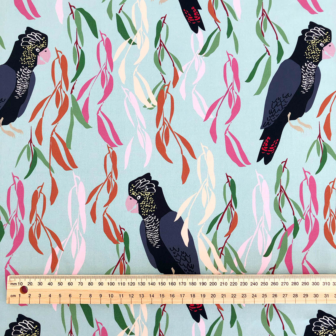 Red-tailed black cockatoo - Cotton Sateen fabric by the half metre