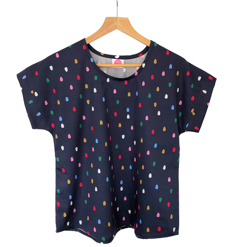 Boxy Top -Navy Spots (Made to order)