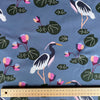 Waterlily Crane - Cotton Twill fabric by the half metre