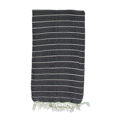 Black Bamboo & Cotton Turkish Towel