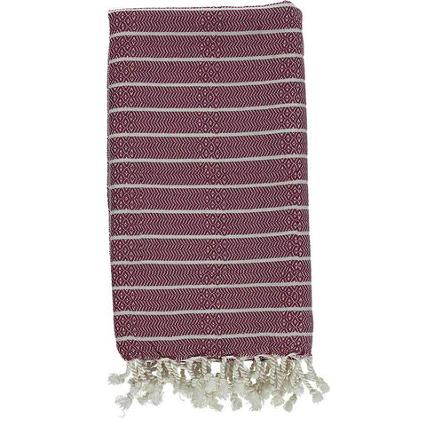 Burgundy Bamboo & Cotton Turkish Towel