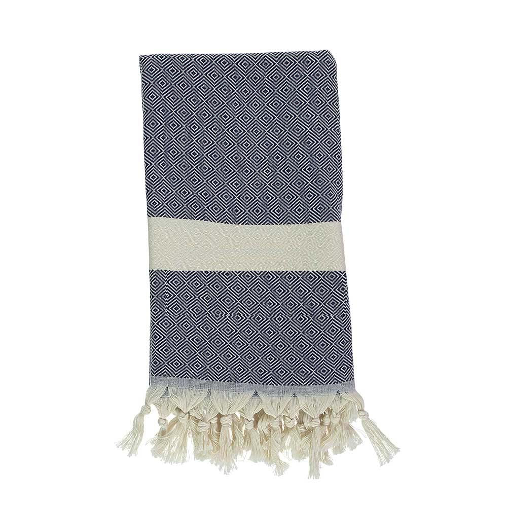 Navy Blue Bamboo & Cotton Turkish Towel