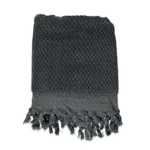 Black Pom Pom Bath Turkish Towel