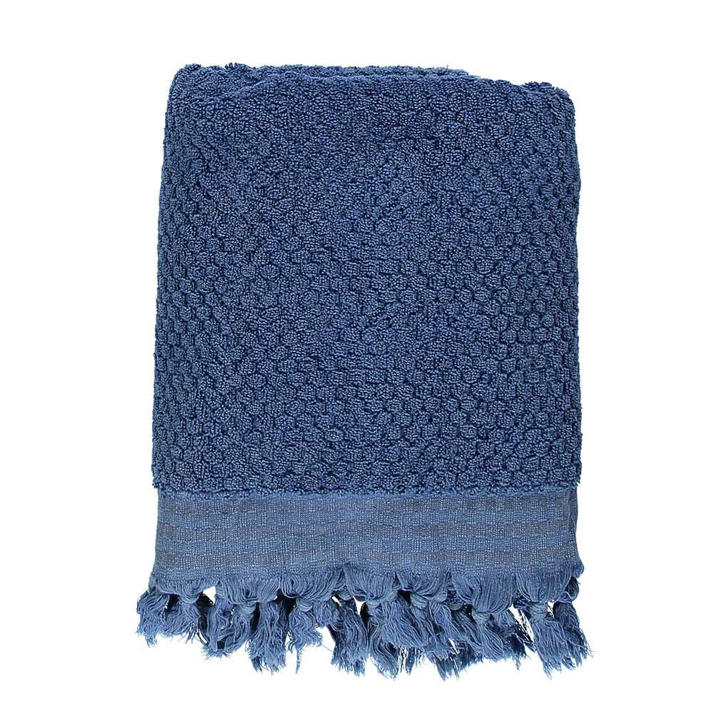 Blue Pom Pom Bath Turkish Towel