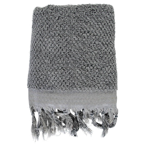 Grey Pom Pom Bath Turkish Towel