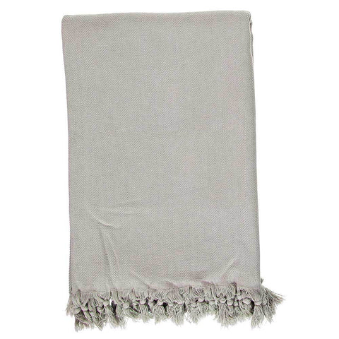 Silver Grey Stonewashed Throw