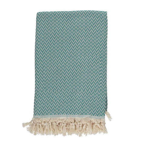 Teal Zigzag Throw