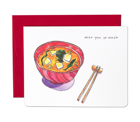 """ Miso You So Much "" Card Greeting Cards - Thorn and Burrow"