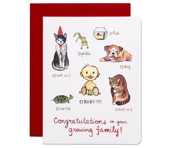 """ Cat Dog Baby!!! "" Card Greeting Cards - Thorn and Burrow"